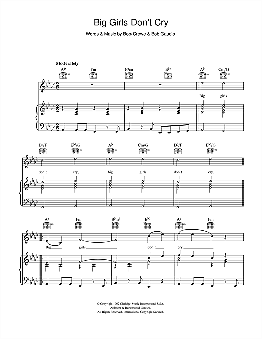 Frankie Valli & The Four Seasons Big Girls Don't Cry sheet music notes and chords. Download Printable PDF.