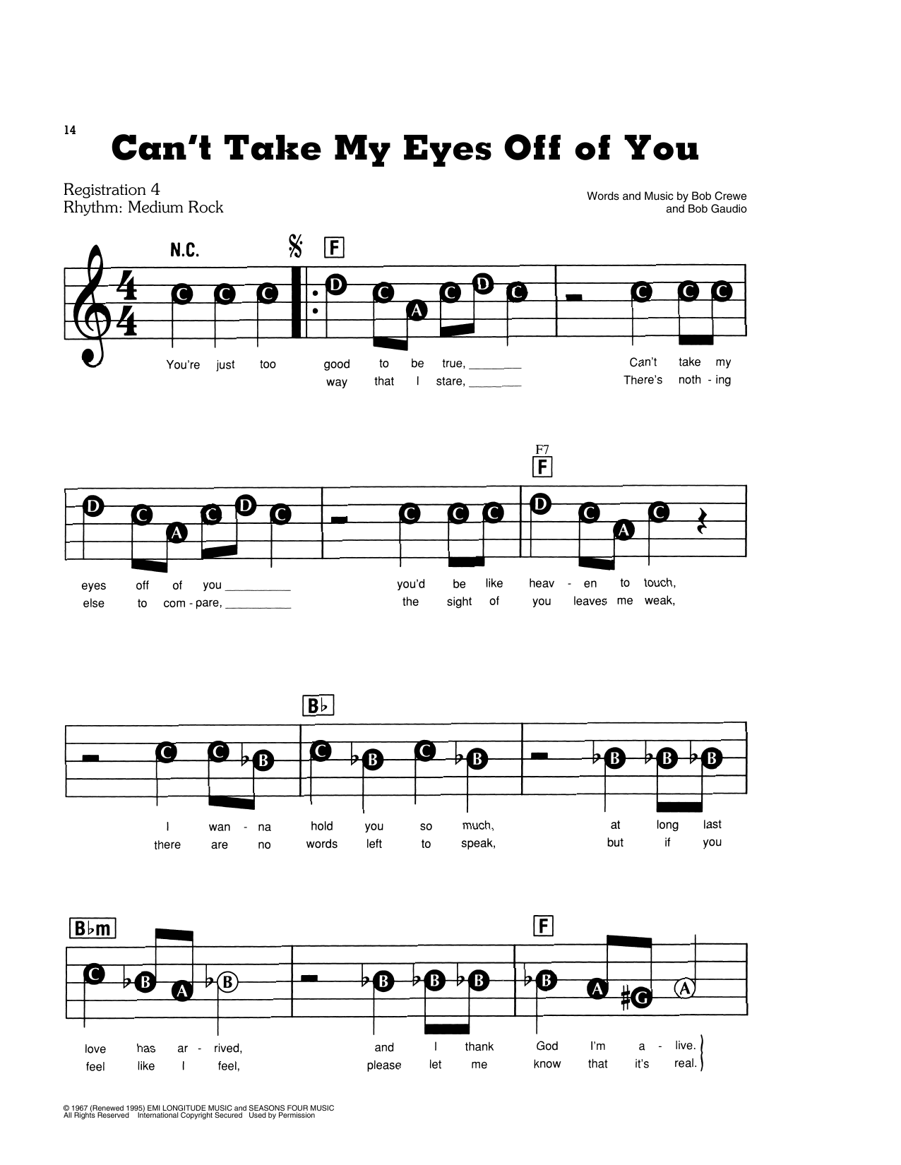 Frankie Valli & The Four Seasons Can't Take My Eyes Off Of You sheet music notes and chords. Download Printable PDF.