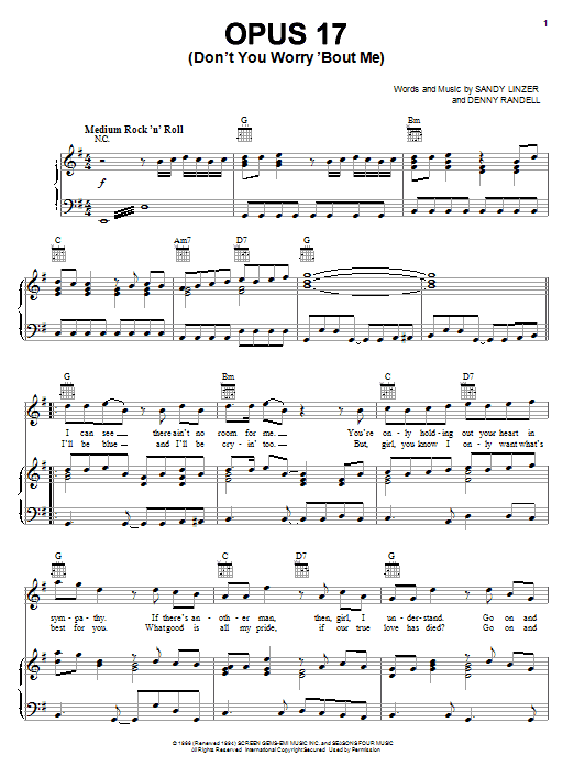 Frankie Valli & The Four Seasons Opus 17 (Don't Worry 'Bout Me) sheet music notes and chords. Download Printable PDF.