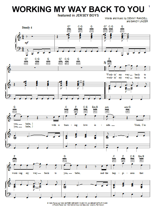 Frankie Valli & The Four Seasons Working My Way Back To You sheet music notes and chords. Download Printable PDF.