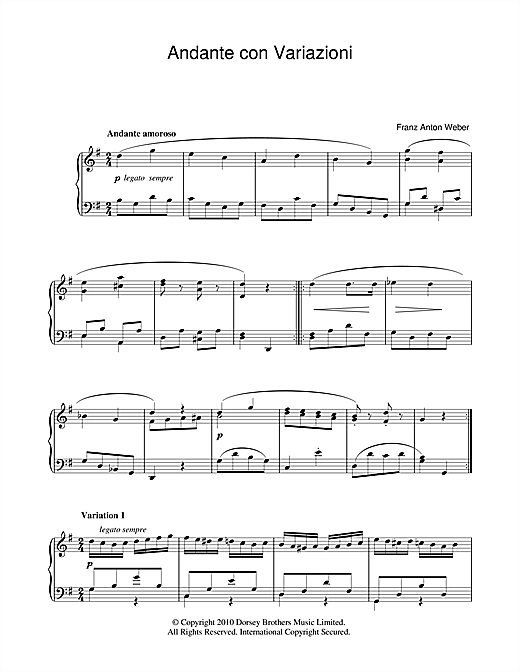Franz Anton Weber Andante Con Variazioni sheet music notes and chords
