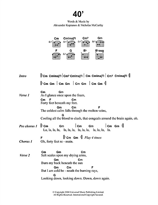 Franz Ferdinand 40' sheet music notes and chords. Download Printable PDF.