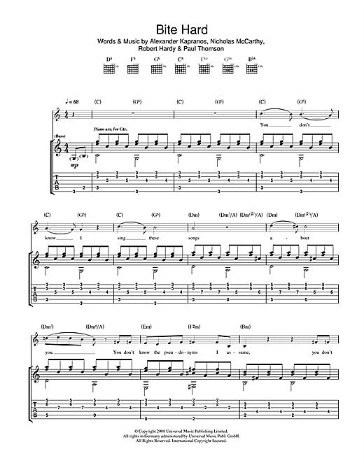 Franz Ferdinand Bite Hard sheet music notes and chords. Download Printable PDF.