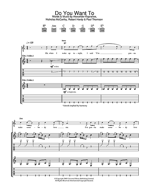 Franz Ferdinand Do You Want To sheet music notes and chords. Download Printable PDF.