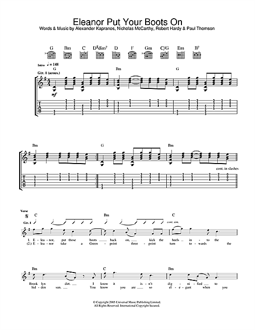 Franz Ferdinand Eleanor Put Your Boots On sheet music notes and chords. Download Printable PDF.