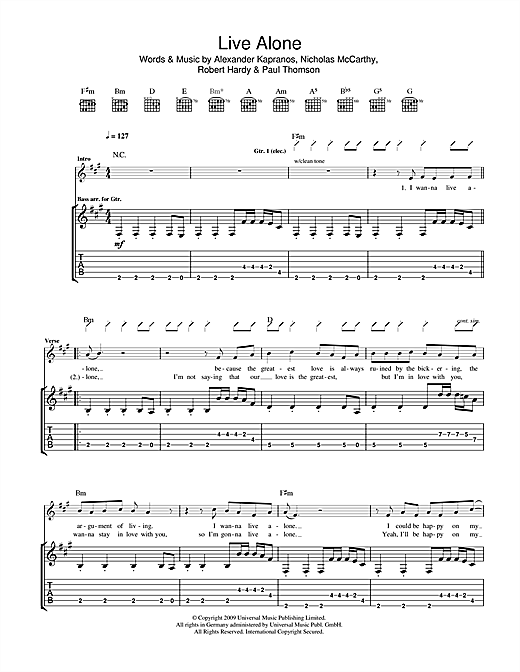 Franz Ferdinand Live Alone sheet music notes and chords. Download Printable PDF.