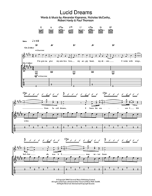 Franz Ferdinand Lucid Dreams sheet music notes and chords. Download Printable PDF.