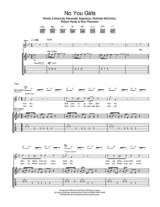 Franz Ferdinand No You Girls sheet music notes and chords. Download Printable PDF.