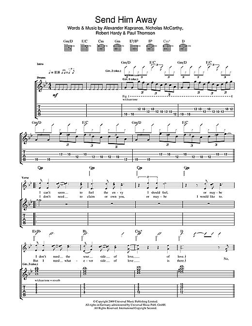 Franz Ferdinand Send Him Away sheet music notes and chords. Download Printable PDF.