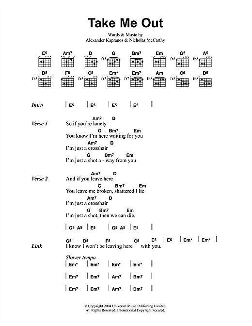 Franz Ferdinand Take Me Out sheet music notes and chords