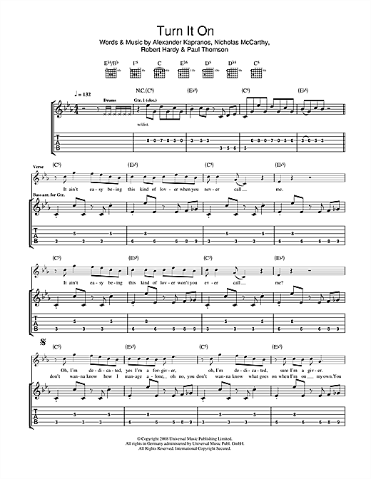 Franz Ferdinand Turn It On sheet music notes and chords. Download Printable PDF.