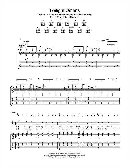 Franz Ferdinand Twilight Omens sheet music notes and chords. Download Printable PDF.