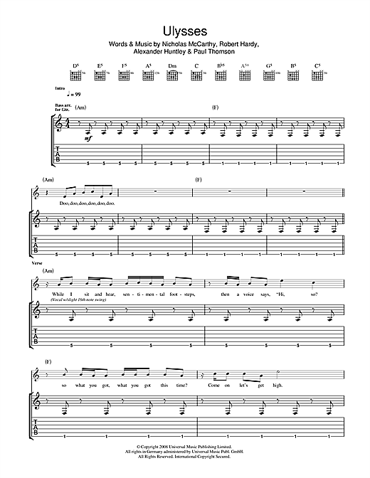 Franz Ferdinand Ulysses sheet music notes and chords. Download Printable PDF.