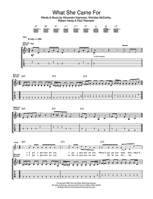 Franz Ferdinand What She Came For sheet music notes and chords. Download Printable PDF.