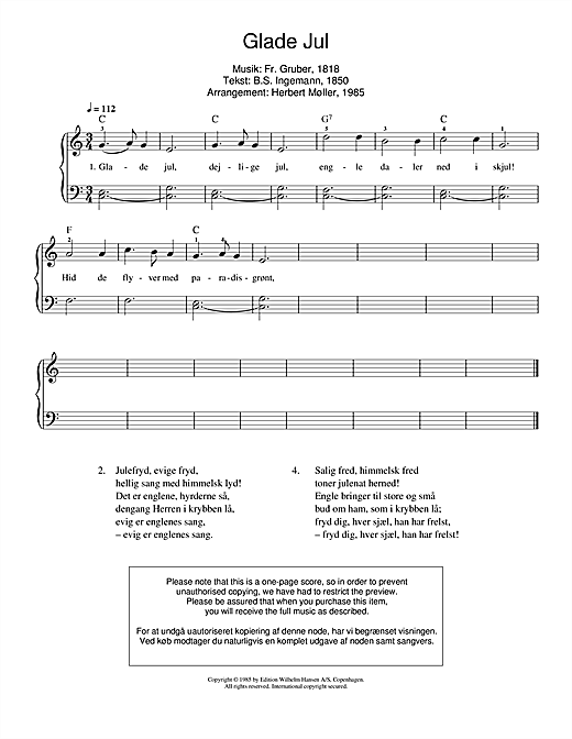 Franz Gruber Glade Jul sheet music notes and chords. Download Printable PDF.