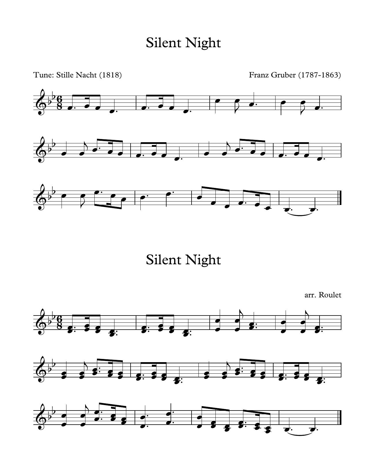 Franz Gruber Silent Night (arr. Patrick Roulet) sheet music notes and chords. Download Printable PDF.