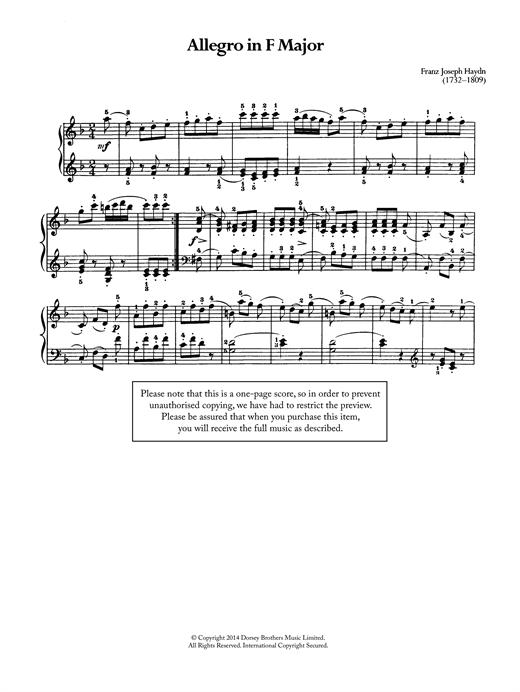 Franz Joseph Haydn Allegro sheet music notes and chords