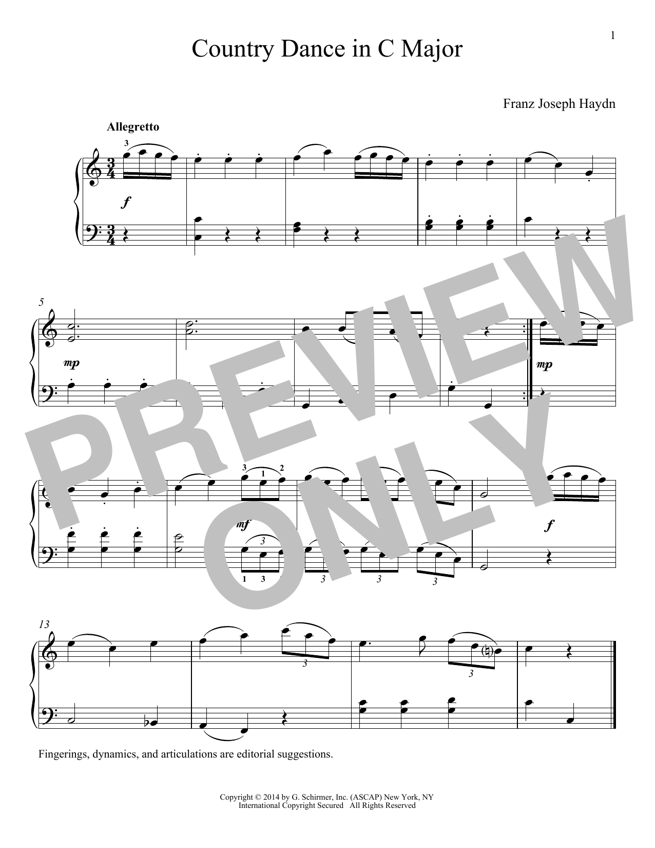 Franz Joseph Haydn Country Dance In C Major sheet music notes and chords