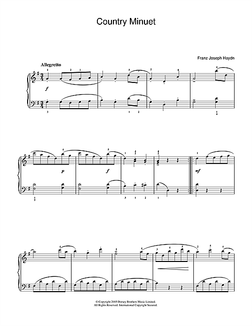 Franz Joseph Haydn Country Minuet sheet music notes and chords. Download Printable PDF.