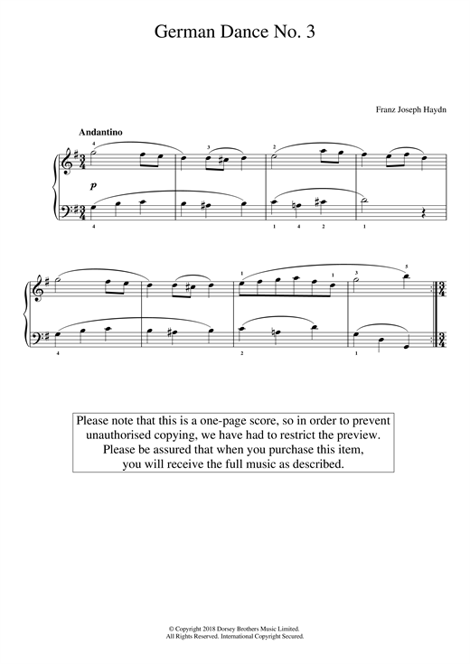 Franz Joseph Haydn German Dance No. 3 sheet music notes and chords. Download Printable PDF.