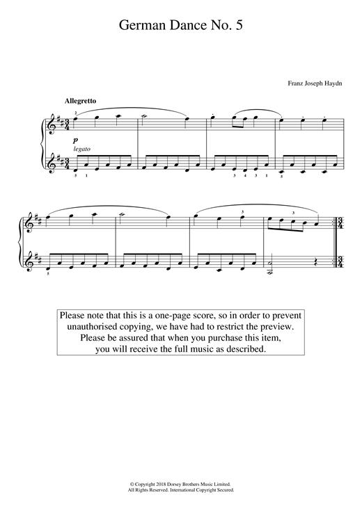 Franz Joseph Haydn German Dance No. 5 sheet music notes and chords