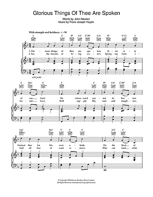 Franz Joseph Haydn Glorious Things Of Thee Are Spoken sheet music notes and chords. Download Printable PDF.