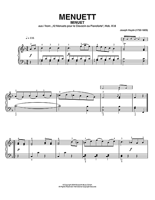 Franz Joseph Haydn Minuet, From 12 Menuets Pour Le Clavecin Ou Pianoforte sheet music notes and chords. Download Printable PDF.