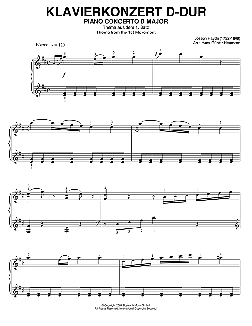 Franz Joseph Haydn Piano Concerto In D Major, Theme From 1st Movement sheet music notes and chords