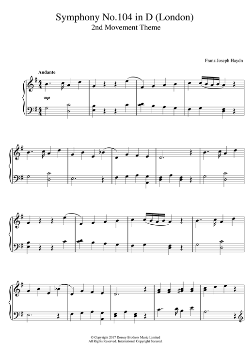 Franz Joseph Haydn Symphony No.104 in D (London) 2nd Movement Theme sheet music notes and chords