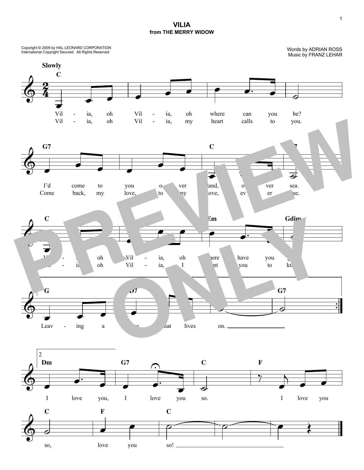 Franz Lehar Vilia sheet music notes and chords. Download Printable PDF.