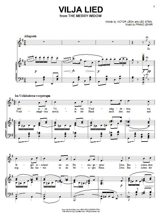 Franz Lehar Vilja Lied sheet music notes and chords. Download Printable PDF.