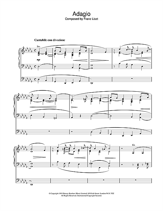 Franz Liszt Adagio sheet music notes and chords. Download Printable PDF.