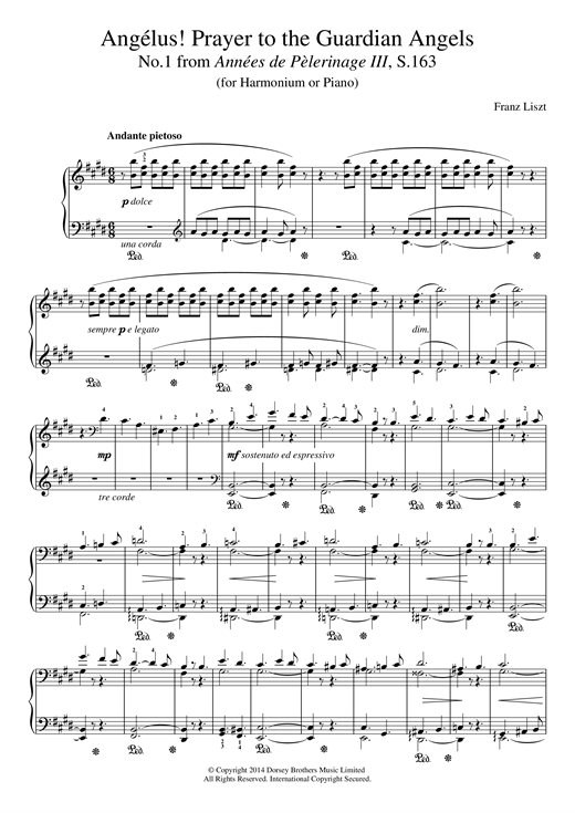 Franz Liszt Annees De Pelerinage III, No.1: Angelus! Prayer To The Guardian Angels sheet music notes and chords. Download Printable PDF.