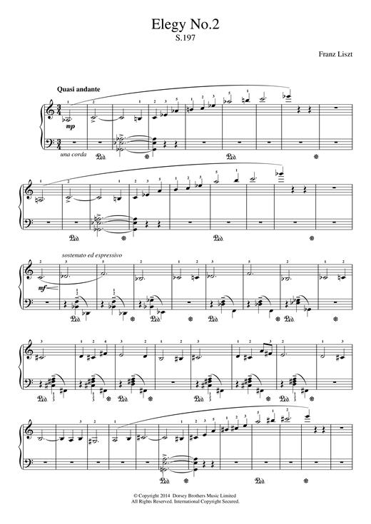 Franz Liszt Elegy No.2 sheet music notes and chords. Download Printable PDF.