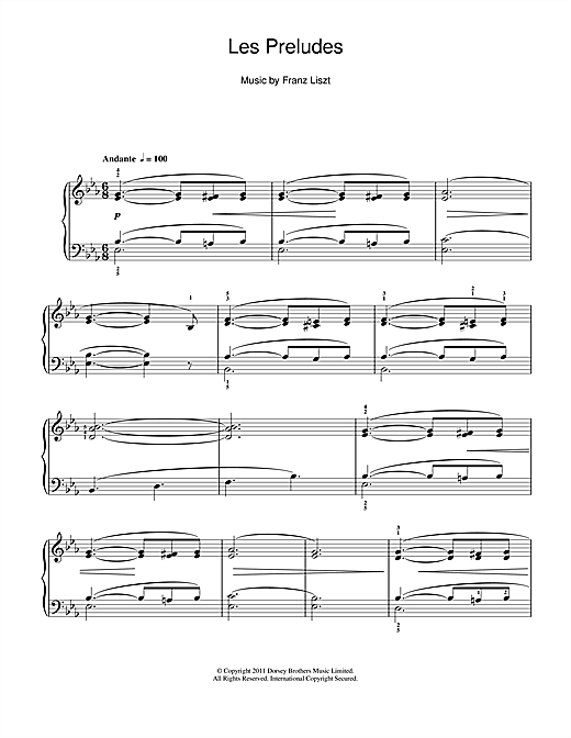 Franz Liszt Les Preludes sheet music notes and chords