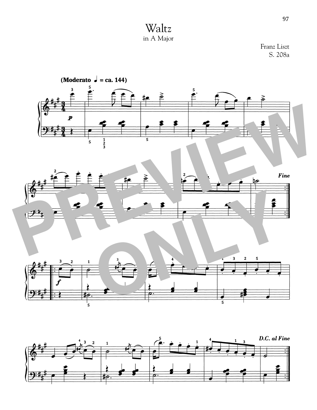 Franz Liszt Waltz In A Major, S. 208a sheet music notes and chords. Download Printable PDF.
