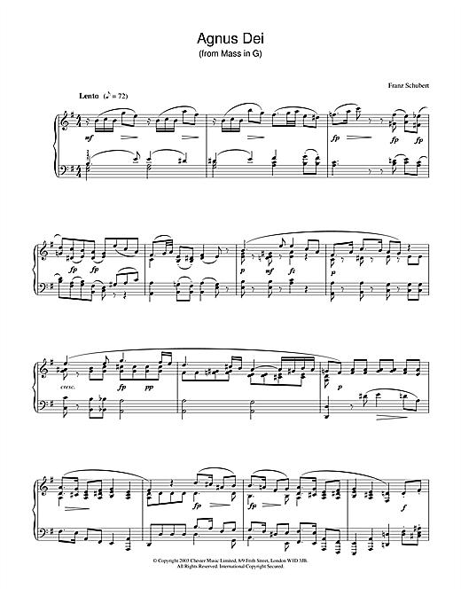 Franz Schubert Agnus Dei sheet music notes and chords. Download Printable PDF.