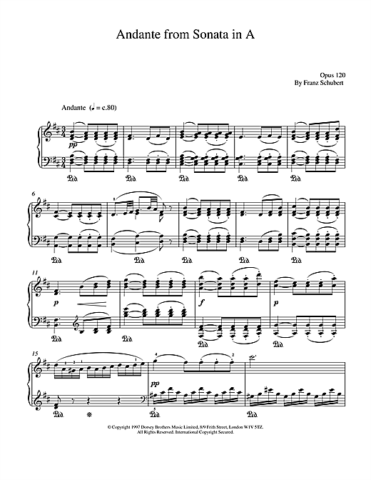 Franz Schubert Andante From Sonata In A sheet music notes and chords
