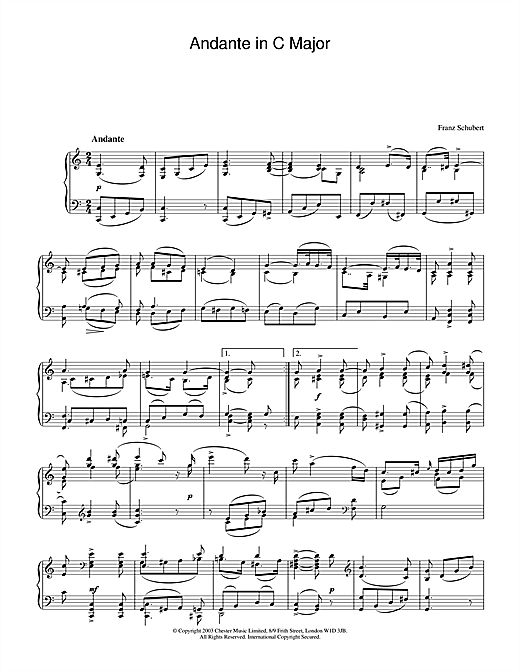 Franz Schubert Andante in C Major sheet music notes and chords. Download Printable PDF.