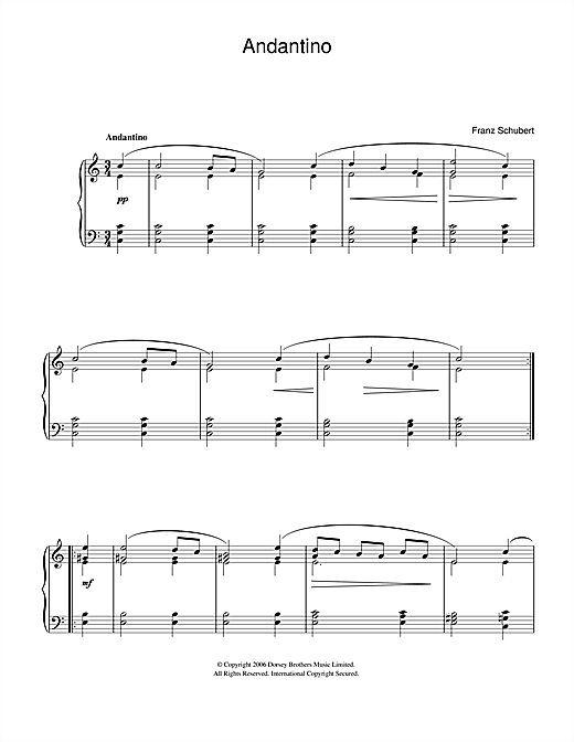 Franz Schubert Andantino sheet music notes and chords. Download Printable PDF.