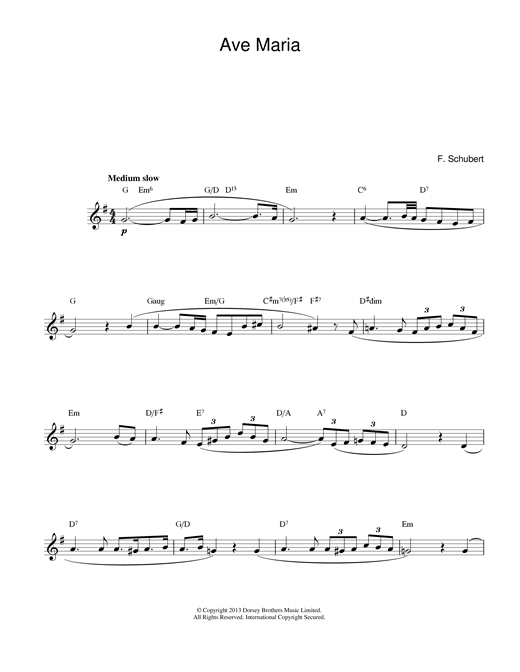 Franz Schubert Ave Maria sheet music notes and chords. Download Printable PDF.