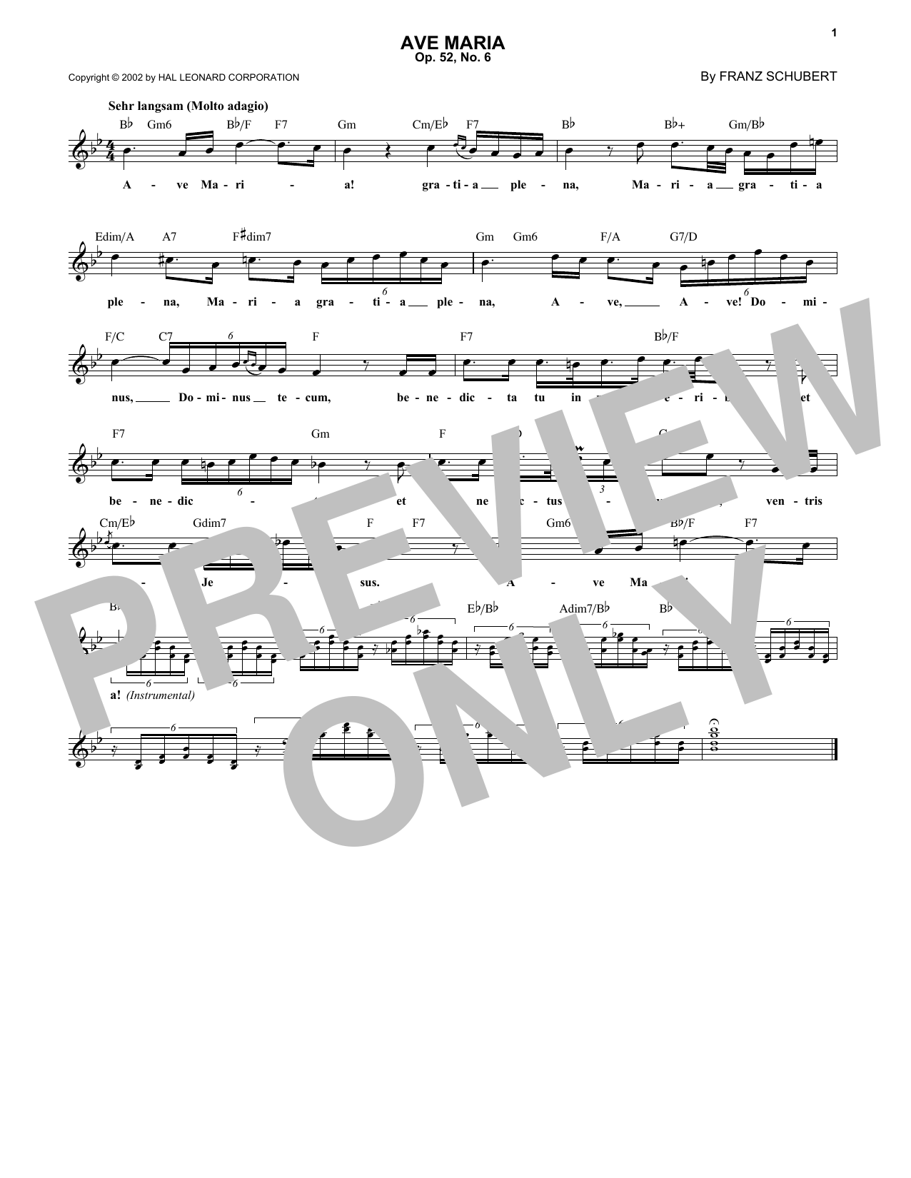 Franz Schubert Ave Maria, Op. 52, No. 6 sheet music notes and chords