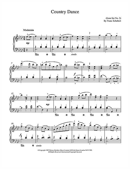 Franz Schubert Country Dance sheet music notes and chords