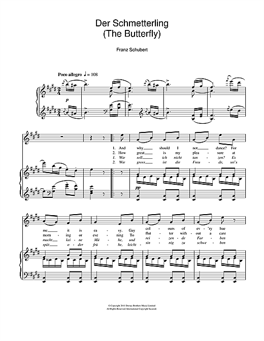 Franz Schubert Der Schmetterling (The Butterfly) sheet music notes and chords. Download Printable PDF.