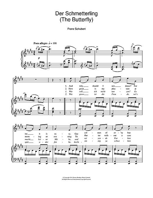 Franz Schubert Der Schmetterling (The Butterfly) sheet music notes and chords