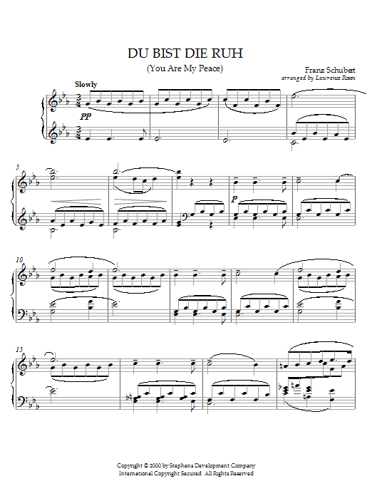 Franz Schubert Du Bist Die Ruh (You Are My Peace) sheet music notes and chords
