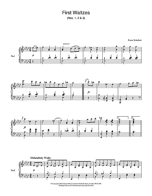 Franz Schubert First Waltzes (Nos. 1, 2 & 3) sheet music notes and chords. Download Printable PDF.