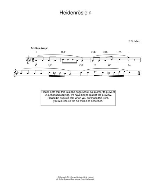 Franz Schubert Heidenroslein sheet music notes and chords