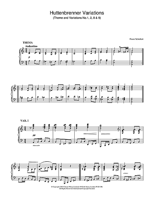 Franz Schubert Huttenbrenner Variations (Theme and Variations Nos. 1, 2, 8 & 9) sheet music notes and chords. Download Printable PDF.