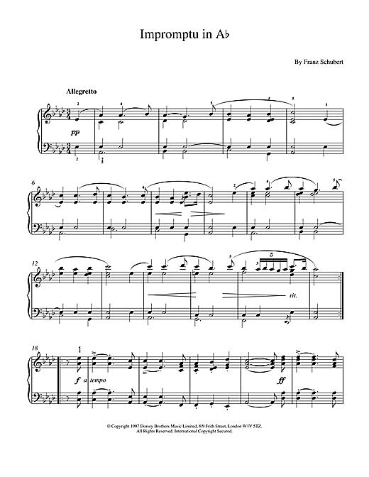 Franz Schubert Impromptu No. 2 in A Flat Major (excerpt), Op.142 sheet music notes and chords
